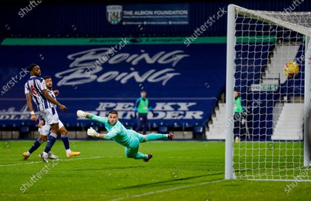 GOAL 0-2 Leeds United defender Ezgjan Alioski (10) (not shown) scores a goal to make the score 0-2 past West Bromwich Albion goalkeeper Sam Johnstone (1)  during the Premier League match between West Bromwich Albion and Leeds United at The Hawthorns, West Bromwich