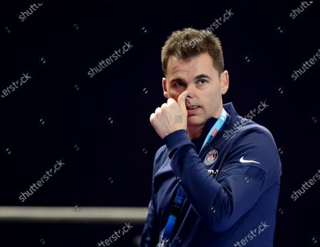 Stock Picture of PSG's head coach Raul Gonzalez Gutierrez reacts during the 2020 EHF FINAL4 Handball Champions League third place match between Paris Saint-Germain and Telekom Veszprem HC in Cologne, Germany, 29 December 2020.