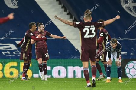 Leeds' Jack Harrison (2-L) celebrates with teammates after scoring the 0-3 lead during the English Premier League soccer match between West Bromwich Albion FC and Leeds United in West Bromwich, Britain, 29 December 2020.