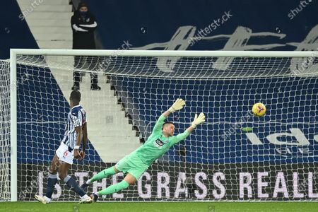 West Bromwich goalkeeper Sam Johnstone concedes the 0-2 goal during the English Premier League soccer match between West Bromwich Albion FC and Leeds United in West Bromwich, Britain, 29 December 2020.