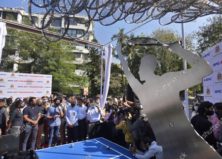 Maharashtra Minister of Tourism and Environment Aditya Thackeray and tennis legend Leander Paes during an inauguration of 'Waves' an art installation by artist Krishna Kedar at Bandra, on December 28, 2020 in Mumbai, India.