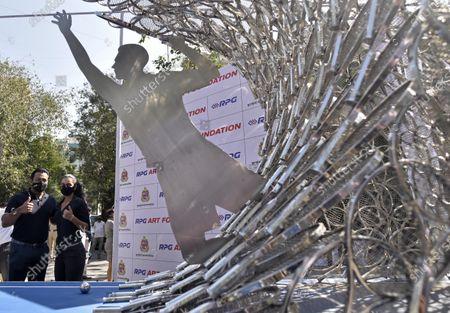 Editorial image of Maharashtra Minister Of Tourism And Environment Aditya Thackeray Inaugurates 'Waves' Art Installation At Bandra, Mumbai, India - 28 Dec 2020