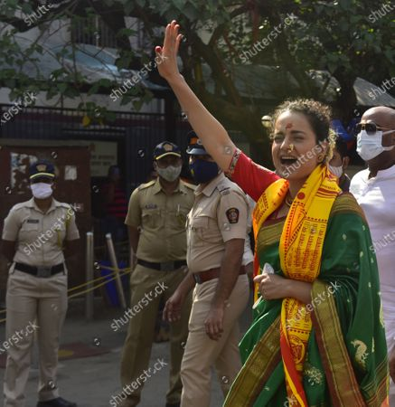 """Stock Photo of Bollywood actor Kangana Ranaut reached Siddhivinayak temple to take blessings of Lord Siddhivinayak at Prabhadevi, on December 29, 2020 in Mumbai, India. Kangana Ranaut said that she felt """"welcomed and protected"""" after visiting the temples and seeking blessings."""