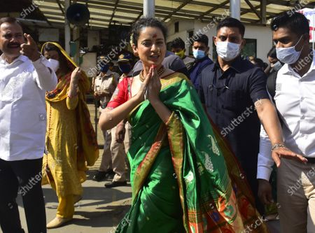 """Bollywood actor Kangana Ranaut reached Siddhivinayak temple to take blessings of Lord Siddhivinayak at Prabhadevi, on December 29, 2020 in Mumbai, India. Kangana Ranaut said that she felt """"welcomed and protected"""" after visiting the temples and seeking blessings."""