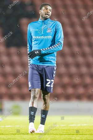 Southend United defender Richard Taylor (22) warming up prior to the EFL Sky Bet League 2 match between Leyton Orient and Southend United at the Breyer Group Stadium, London