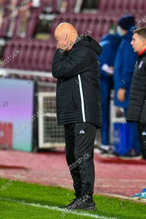 Stock Picture of Arbroath FC assistant manager, Ian Campbell has his head in his hand during the SPFL Championship match between Heart of Midlothian and Arbroath at Tynecastle Park, Edinburgh