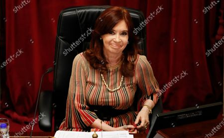 Senate President and Argentina's Vice President Cristina Fernandez smiles during the debate of a bill that would legalize abortion, inside Congress in Buenos Aires, Argentina
