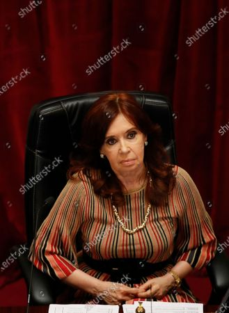 Senate President and Argentina's Vice President Cristina Fernandez attends the debate of a bill that would legalize abortion inside the Congress in Buenos Aires, Argentina