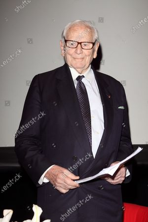 **FILE PHOTO** Pierre Cardin Has Passed Away at 98.MADRID, SPAIN - APRIL 07: Italian-born French fashion designer Pierre Cardin speaks with his fashion director Maryse Gaspard during a conference entitled 'Pierre Cardin's scenic projection' at the French Institute on April 7, 2014 in Madrid, Spain