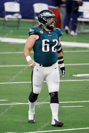 Philadelphia Eagles center Jason Kelce (62) walks off the field at the end of the first half during an NFL Football game in Arlington, Texas