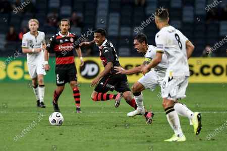 Keanu Baccus of Western Sydney Wanderers chased down by Mark Milligan of Macarthur FC; Bankwest Stadium, Parramatta, New South Wales, Australia; A League Football, Western Sydney Wanderers versus Macarthur FC.