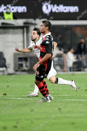 Benat Etxebarria Urkiaga of Macarthur FC watches his free kick take a deflection to open the scoring in the 73rd minute, the goal was later awarded to Mark Milligan of Macarthur FC; Bankwest Stadium, Parramatta, New South Wales, Australia; A League Football, Western Sydney Wanderers versus Macarthur FC.