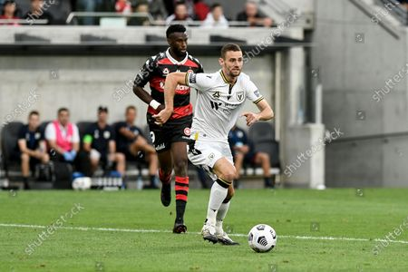 Aleksandar Jovanovic of Macarthur FC looks for passing options; Bankwest Stadium, Parramatta, New South Wales, Australia; A League Football, Western Sydney Wanderers versus Macarthur FC.