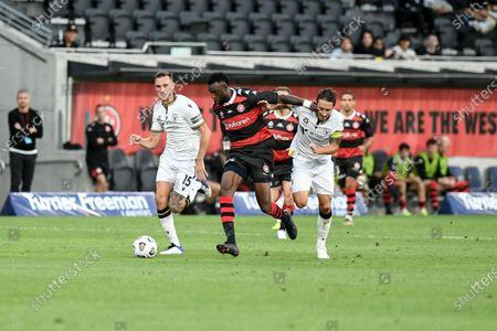 Bernie Ibini of Western Sydney Wanderers fends off Mark Milligan of Macarthur FC; Bankwest Stadium, Parramatta, New South Wales, Australia; A League Football, Western Sydney Wanderers versus Macarthur FC.