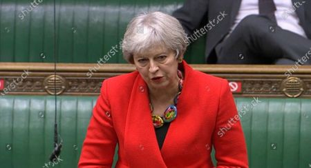 In this screengrab provided by the House of Commons, Britain's Former prime minister Theresa May speaks during the debate in the House of Commons on the EU (Future Relationship) Bill in London, . The European Union's top officials have formally signed the post-Brexit trade deal with the United Kingdom, as lawmakers in London get set to vote on the agreement