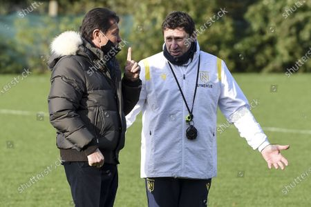 FC Nantes president Waldemar Kita talks with Robert Duverne during the first training session of the new Nantes head coach Domenech at the training center of La Joneliere, in La Chapelle sur Erdre, near Nantes