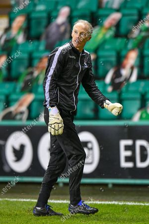 Stock Image of Scott Thomson, goalkeeping coach of Ross County FC during the warm up before the SPFL Premiership match between Hibernian and Ross County at Easter Road Stadium, Edinburgh