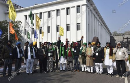 Stock Image of Dr Darshan Pal, President, Krantikari Kisan Union and Farmer Leader Shiv Kumar sharma kaka JI Madhya Pradesh  with Farmers delegation arrives at Vigyan Bhawan for their meeting with Agricultural minister Narendra Singh Tomar on the issue of farm laws on December 30, 2020 in New Delhi, India. The protesting farmer unions are sticking to their hardline position that the discussions will only be on the modalities of repealing the three new agri laws and giving a legal guarantee on the MSP among other issues. The sixth round of talks between the Centre and farmers' union leaders concluded on Wednesday evening. The next meeting will take place on January 4.