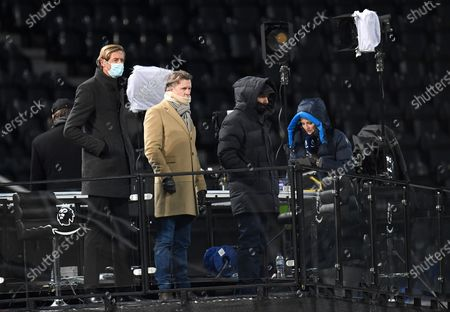 Stock Picture of Former soccer players Peter Crouch (L) and Alan Shearer (2-R) during the English Premier League soccer match between Newcastle United and Liverpool in Newcastle, Britain, 30 December 2020.