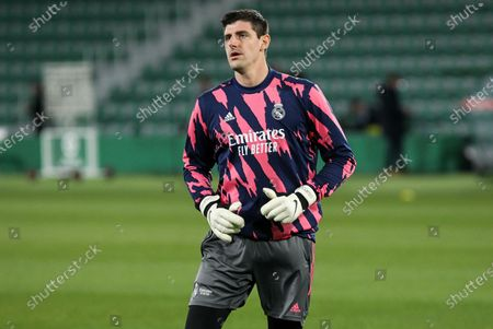 Thibaut Courtois of Real Madrid CF during La Liga football match played between Elche CF and Real Madrid CF at Martinez Valero stadium on December 30, 2020 in Elche, Alicante, Spain.