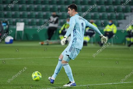 Thibaut Courtois of Real Madrid CF in action during La Liga football match played between Elche CF and Real Madrid CF at Martinez Valero stadium on December 30, 2020 in Elche, Alicante, Spain.