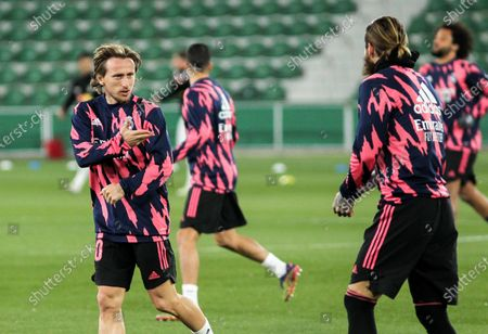 Luka Modric of Real Madrid CF and Sergio Ramos of Real Madrid CF during La Liga football match played between Elche CF and Real Madrid CF at Martinez Valero stadium on December 30, 2020 in Elche, Alicante, Spain.