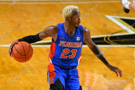 Florida guard Scottie Lewis works the floor against Vanderbilt during an NCAA college basketball game, in Nashville, Tenn