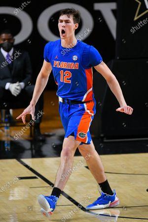 Florida forward Colin Castleton reacts during an NCAA college basketball game against Vanderbilt, in Nashville, Tenn