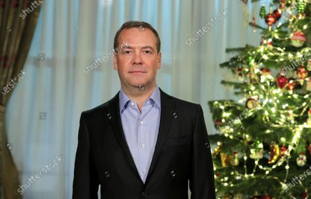 Stock Picture of Deputy chairman of the Russian Security Council Dmitry Medvedev issues New Year greetings to the nation in his Gorki residence outside Moscow, Russia, 31 December 2020.