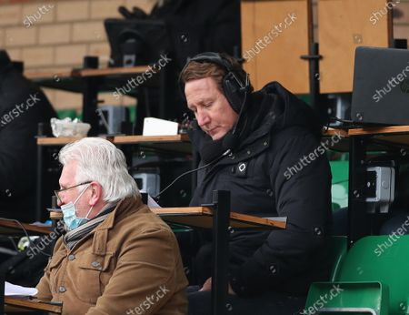 Stock Photo of Former Arsenal player Ray Parlour working in the press box for Talk Sport Radio