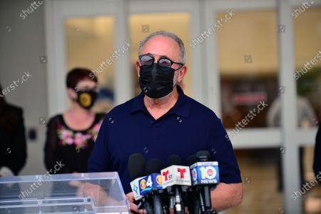 Music producer Emilio Estefan, attends press conference outside of Lynn Rehab after the vaccination of the elderly with the Pfizer-BioNtech Covid-19, at Jackson Memorial Hospital  on December 30, 2020 in Miami, Florida. Jackson Health System began Pfizer COVID-19 vaccinations for people 65 and older in Miami-Dade County. Credit: MPI10 / MediaPunch