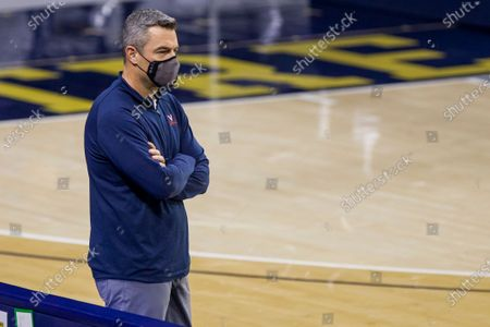 Virginia head coach Tony Bennett looks on during an NCAA college basketball game against Notre Dame, in South Bend, Ind. Virginia won 66-57