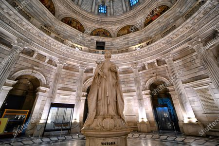 Stock Image of Statue of Queen Victoria seen at the Victoria Memorial Museum . Victoria Memorial inscribed as a World Heritage Site by UNESCO built in 1906 to 1921 in memory of Queen Victoria the Empress of India.