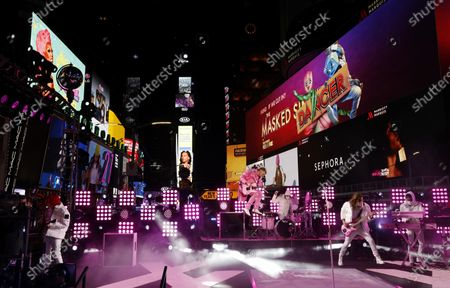 Stock Photo of Machine Gun Kelly performs in Times Square on New Years Eve in New York City, New York, USA, 31 December 2020.
