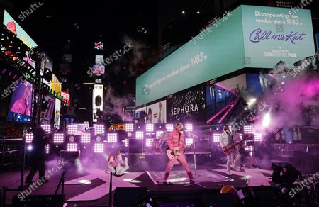 Machine Gun Kelly performs in Times Square on New Years Eve in New York City, New York, USA, 31 December 2020.