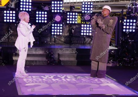 Stock Image of Cyndi Lauper (L) and Billy Porter perform in Times Square on New Years Eve in New York City, New York, USA, 31 December 2020.