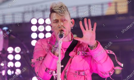 Stock Image of Machine Gun Kelly performs in Times Square on New Years Eve in New York City, New York, USA, 31 December 2020.
