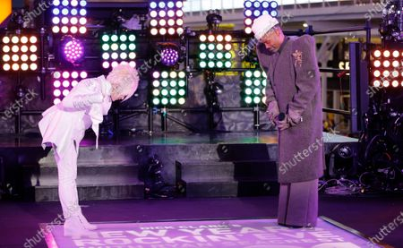 Cyndi Lauper (L) and Billy Porter perform in Times Square on New Years Eve in New York City, New York, USA, 31 December 2020.