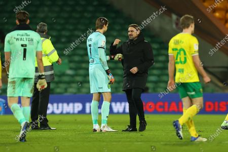 Norwich City Manager Daniel Farke celebrates the 1-0 win with Tim Krul; Carrow Road, Norwich, Norfolk, England, English Football League Championship Football, Norwich versus Barnsley.
