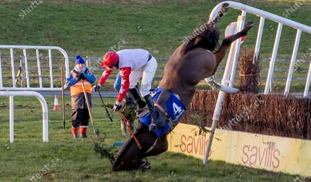 The Tom Carroll Memorial Handicap Steeplechase. Richard Condon falls from Tongie