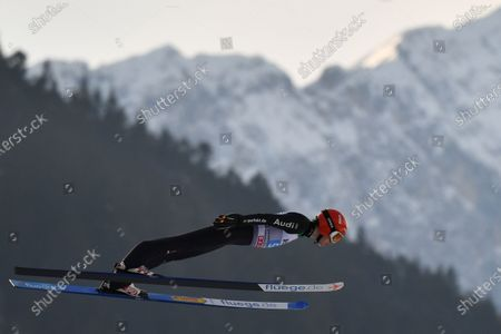 Stock Picture of David Siegel of Germany is airborne during the second stage of the 69th Four Hills Tournament in Garmisch-Partenkirchen, Germany, 01 January 2021.