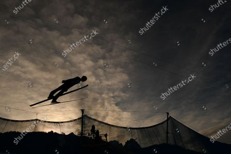 Stock Photo of David Siegel of Germany is airborne during the second stage of the 69th Four Hills Tournament in Garmisch-Partenkirchen, Germany, 01 January 2021.