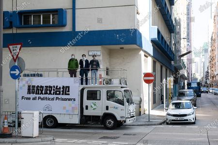 Editorial picture of Hong Kong activists call for release of 'political prisoners' from atop van on New Yearís Day in China - 01 Jan 2021