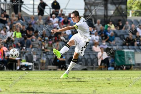 Mark Milligan of Macarthur FC shoots at goal from outside the box; Campbelltown Stadium, Leumeah, New South Wales, Australia; A League Football, Macarthur FC versus Central Coast Mariners.