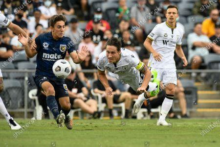 Mark Milligan of Macarthur FC dives to head the ball clear of danger; Campbelltown Stadium, Leumeah, New South Wales, Australia; A League Football, Macarthur FC versus Central Coast Mariners.