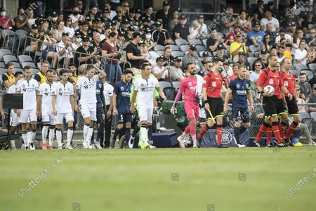 Mark Milligan of Macarthur FC leads his team out onto the pitch at their first A-League home game; Campbelltown Stadium, Leumeah, New South Wales, Australia; A League Football, Macarthur FC versus Central Coast Mariners.
