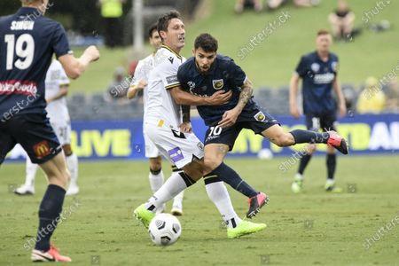 Daniel De Silva of Central Coast Mariners is held back by Mark Milligan of Macarthur FC; Campbelltown Stadium, Leumeah, New South Wales, Australia; A League Football, Macarthur FC versus Central Coast Mariners.
