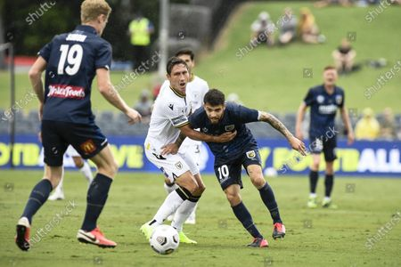 Mark Milligan of Macarthur FC holds back Daniel De Silva of Central Coast Mariners; Campbelltown Stadium, Leumeah, New South Wales, Australia; A League Football, Macarthur FC versus Central Coast Mariners.