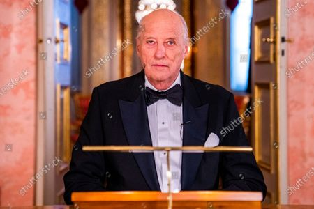King Harald gives the New Year's speech at the Palace in Oslo, Norway, 31 December 2020 (issued 01 January 2021).