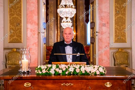 Stock Picture of King Harald gives the New Year's speech at the Palace in Oslo, Norway, 31 December 2020 (Issued 01 January 2021).